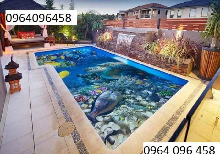 tranh gạch men 3d ốp bể bơi2