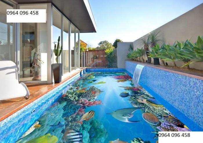 tranh gạch men 3d ốp bể bơi1