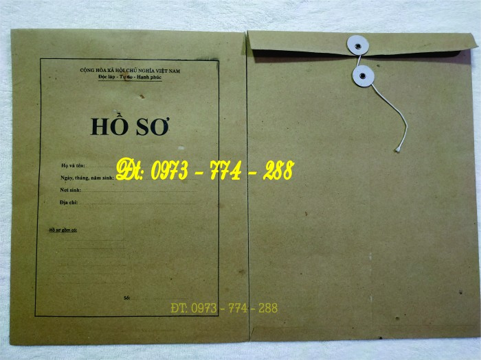 In Túi - Vỏ - Bì - Bìa theo mẫu HS09a - VC/BNV - Hồ sơ viên chức mới nhất