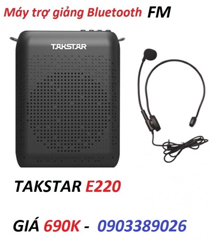 Máy trợ giảng Takstar E220 chính hãng công suất 8W hỗ trợ FM, Thẻ nhớ, Bluetooth, Audio in 0