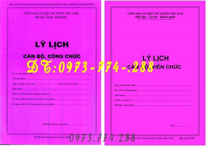 Lý lịch cán bộ , công chức - Mẫu 1a-BNV/20071