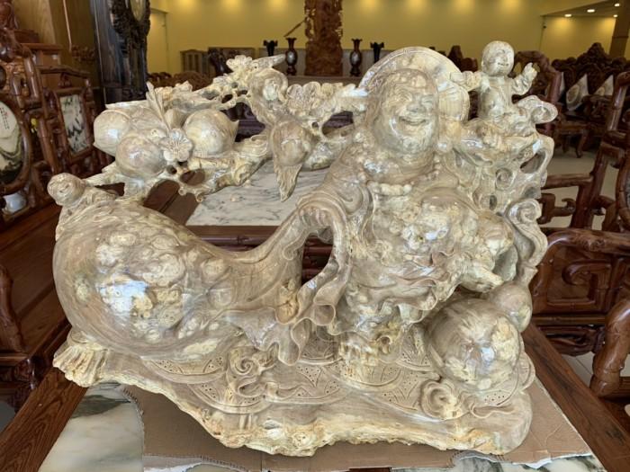 Tượng Phật Di Lặc gánh cành đào kéo bao tiền gỗ quý hiếm5