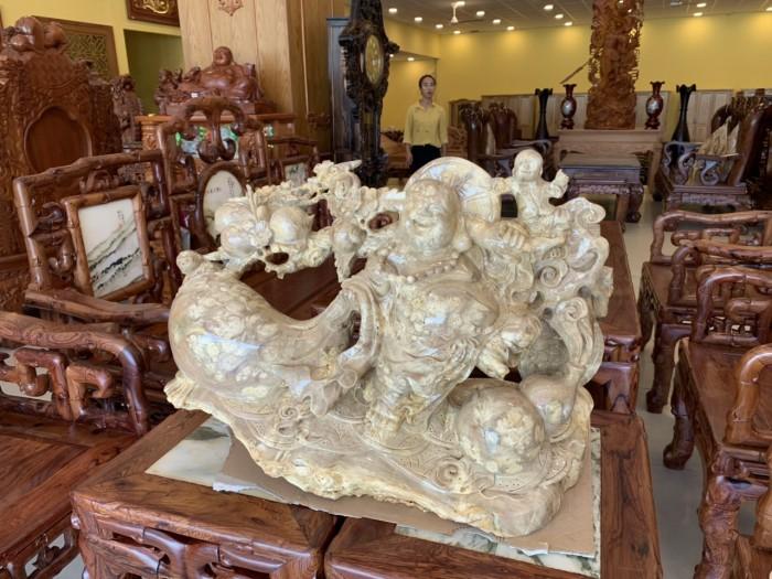 Tượng Phật Di Lặc gánh cành đào kéo bao tiền gỗ quý hiếm4