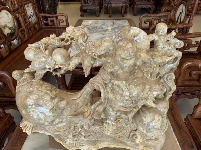 Tượng Phật Di Lặc gánh cành đào kéo bao tiền gỗ quý hiếm2