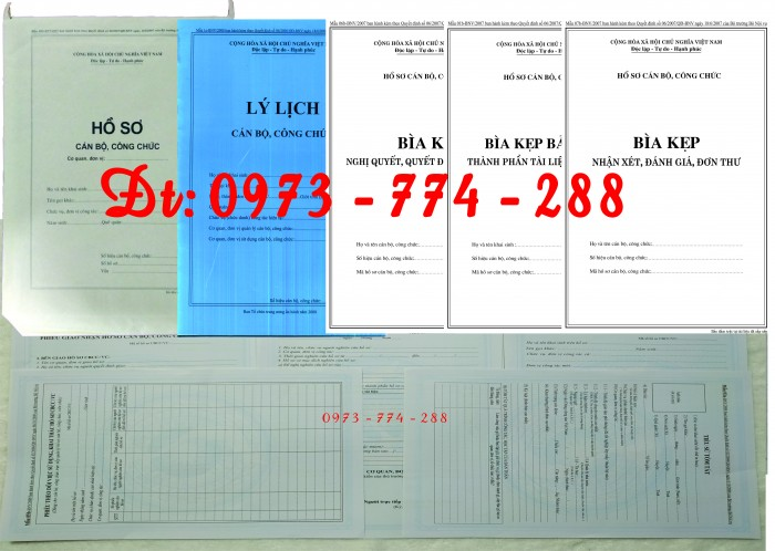 Hồ sơ cán bộ, công chức, mẫu B01-B02-B03-B04-B05-B06 - BNV5