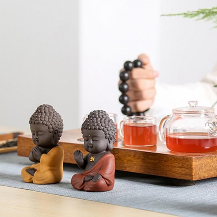 Tượng chibi Phật A Di Đà bằng gốm tử sa18