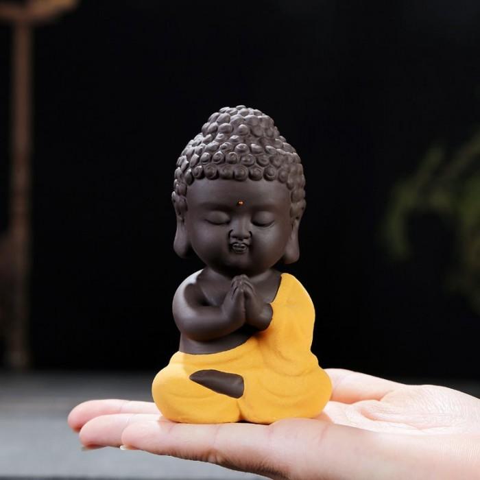 Tượng chibi Phật A Di Đà bằng gốm tử sa20