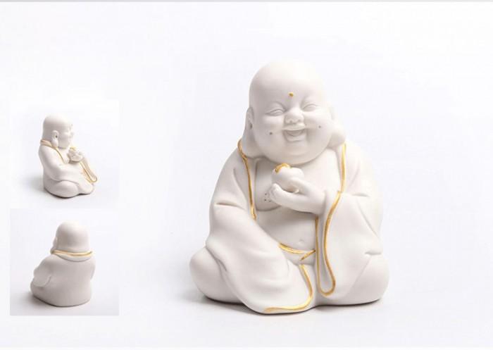 Tượng Tiếu Phật gốm trắng0