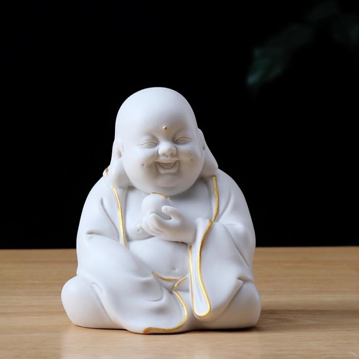 Tượng Tiếu Phật gốm trắng3
