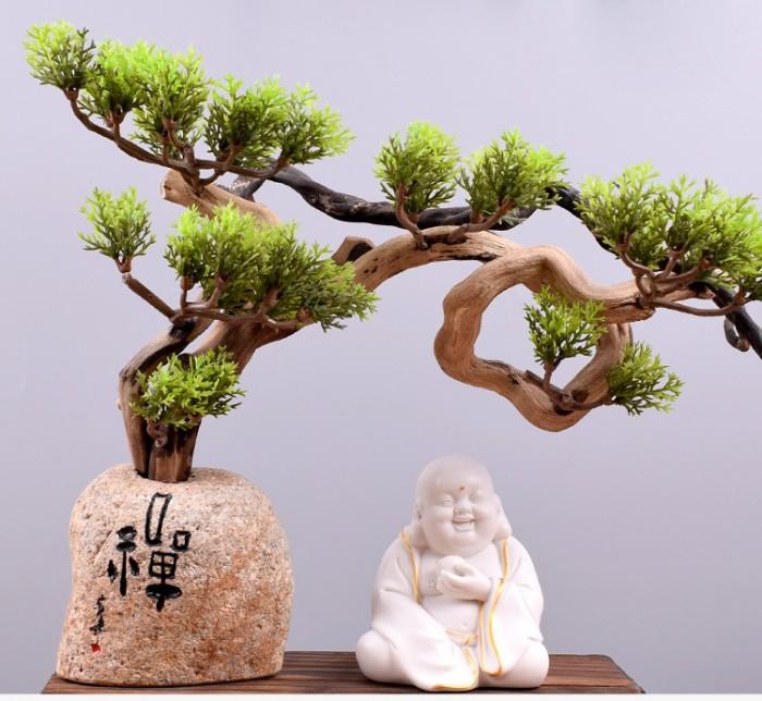 Tượng Tiếu Phật gốm trắng2