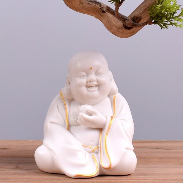 Tượng Tiếu Phật gốm trắng5