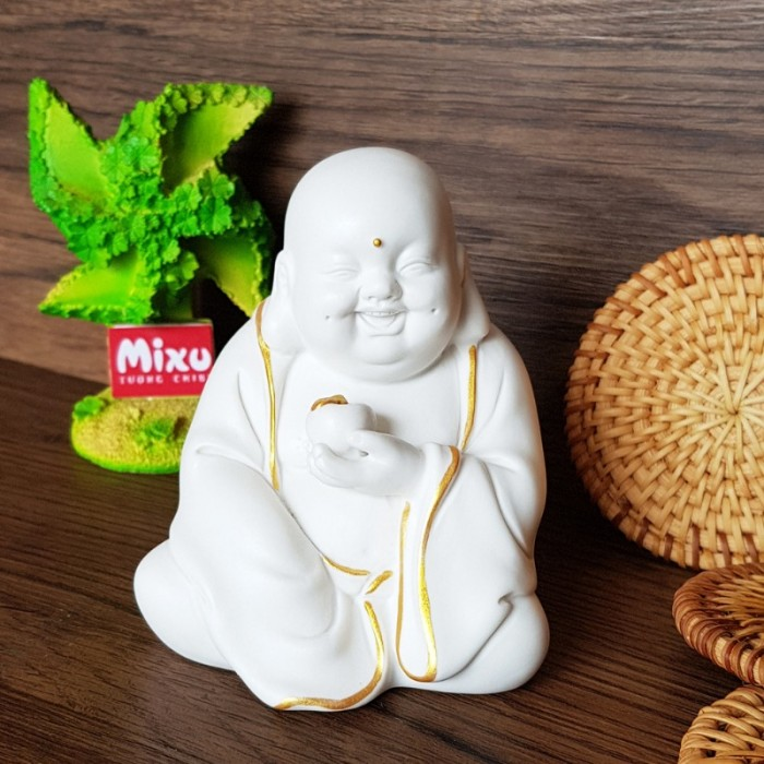 Tượng Tiếu Phật gốm trắng4