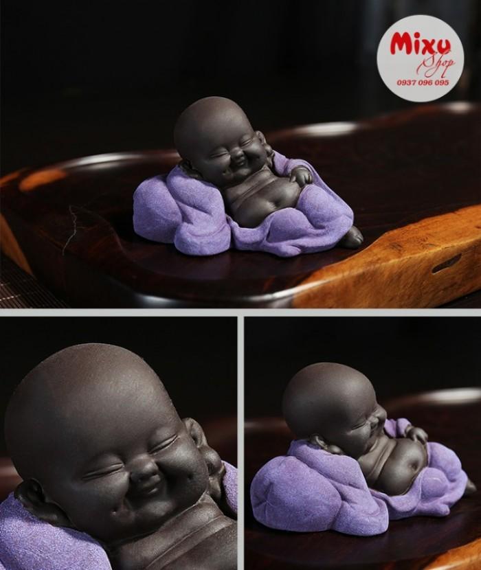 Tượng chú tiểu nằm ngủ bằng gốm tử sa cao cấp4