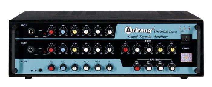 Amply Karaoke Arirang SPA-306XG Digital với công suất tiêu thụ 450W và âm thanh ngõ ra (OUT) là 400W