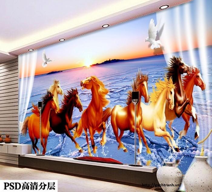 gạch tranh ngựa 3d phong thủy  Q16
