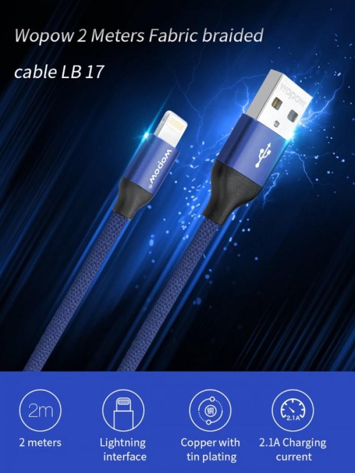 Cáp sạc iphone Wopow Lightning Fabric Braided 2000mm (LB17)0