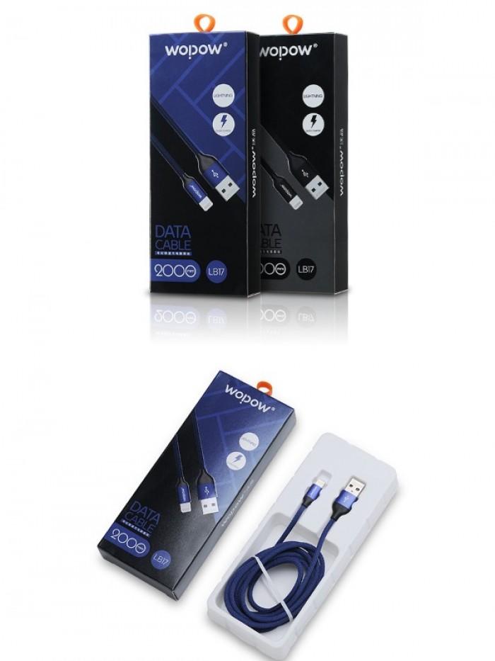 Cáp sạc iphone Wopow Lightning Fabric Braided 2000mm (LB17)1