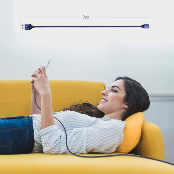 Cáp sạc iphone Wopow Lightning Fabric Braided 2000mm (LB17)2