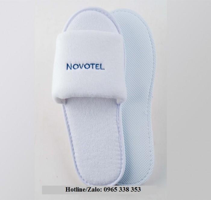 Dép bông khách sạn, spa giá rẻ_Thêu Logo theo yêu cầu14