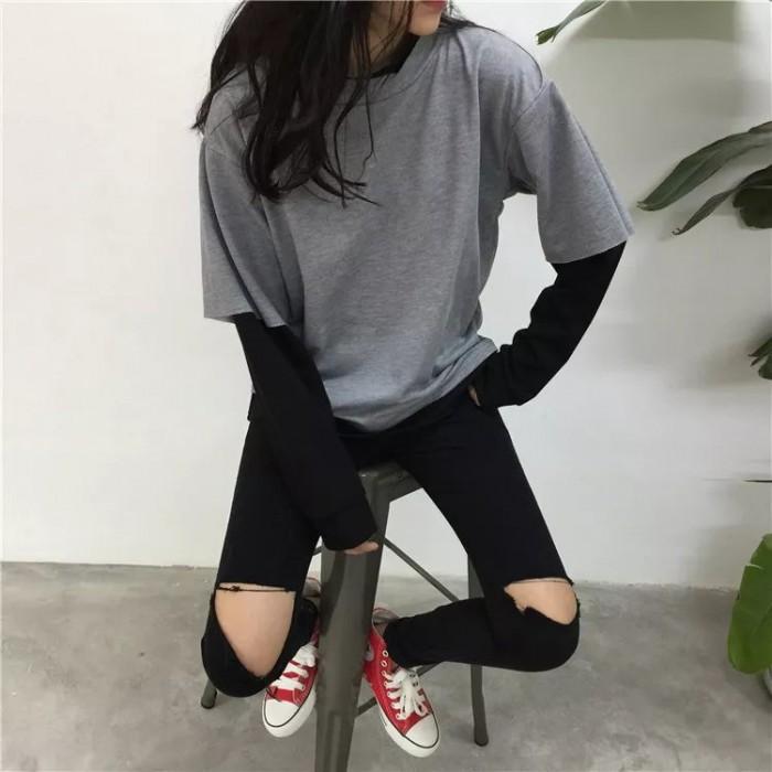 Chuyên sản xuất gia công áo thun nữ tay dài nữ form rộng0