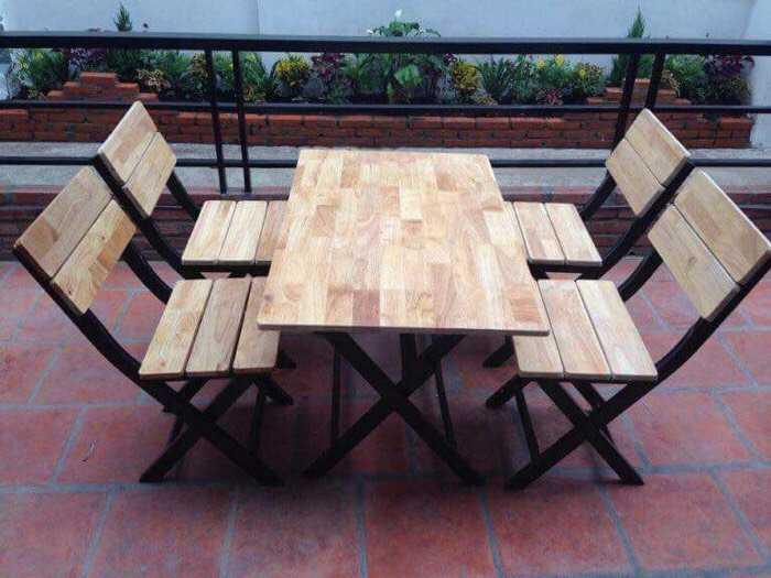 Bàn ghế xếp sắt ốp gỗ giá rẻ tại xưởng sản xuất0