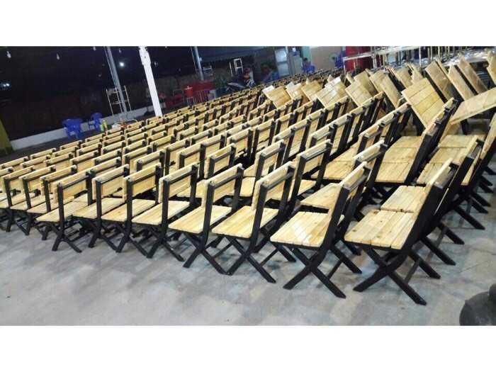 Bàn ghế xếp sắt ốp gỗ giá rẻ tại xưởng sản xuất2