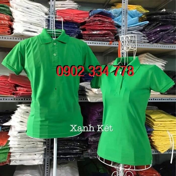 áo thun cổ trụ xanh két giá sỉ cho các xưởng in - xưởng may áo thun cá sấu in nhiệt2