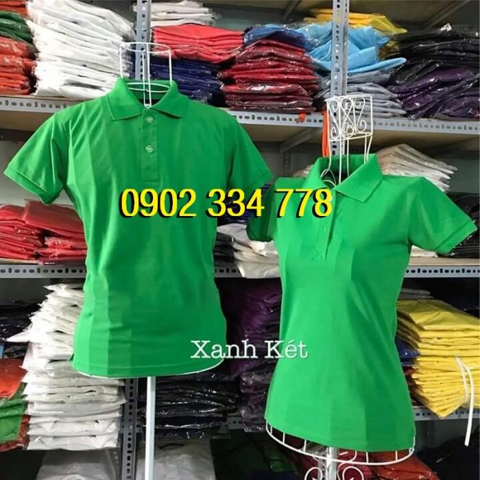 áo thun cổ trụ xanh két giá sỉ cho các xưởng in - xưởng may áo thun cá sấu in nhiệt1