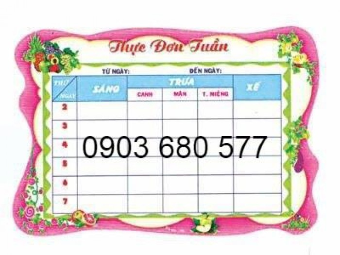 Chuyên cung cấp bảng biểu mầm non giá rẻ, chất lượng cao9