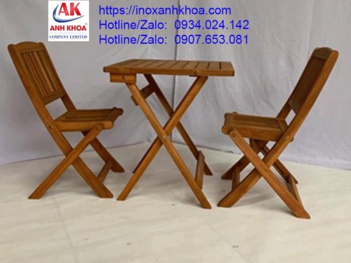 BỘ BÀN GHẾ GỖ CÀ PHÊ  XẾP - INOX ANH KHOA - Chất liệu gỗ tràm cao cấp chống mối mọt - bộ bàn ghế gấp gọn khi không sử dụng - một bộ gồm 1 bàn + 2 ghế GIÁ: 460.000 Đ Liên hệ: 0934024142 - 0907653081