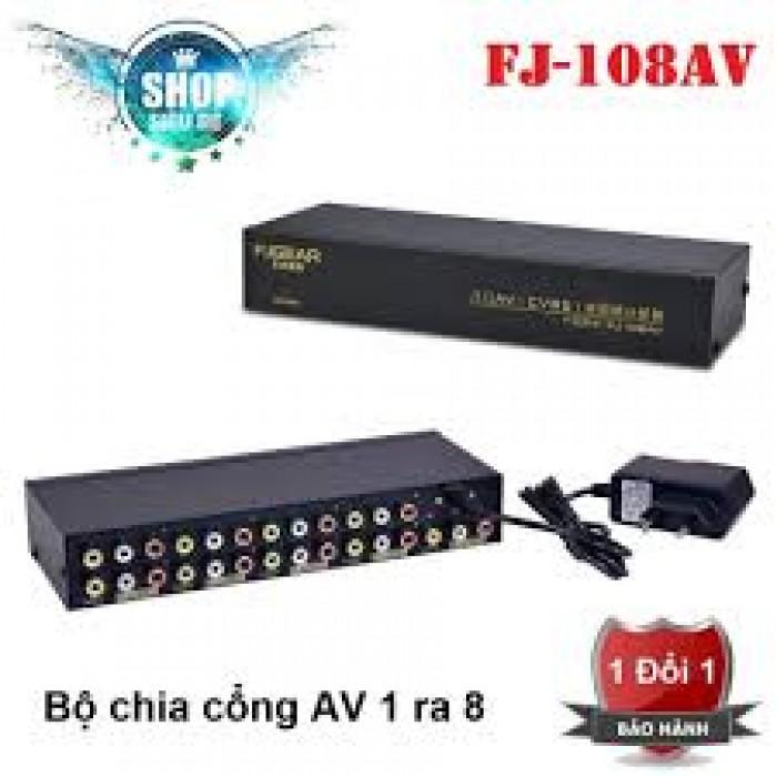 Bộ chia Audio & Video FJGear FJ-108AV  Trọn bộ gồm có: Đầu chủ FJGear FJ-108AV, Adapter 9V/ 0.5A, Catalo.0