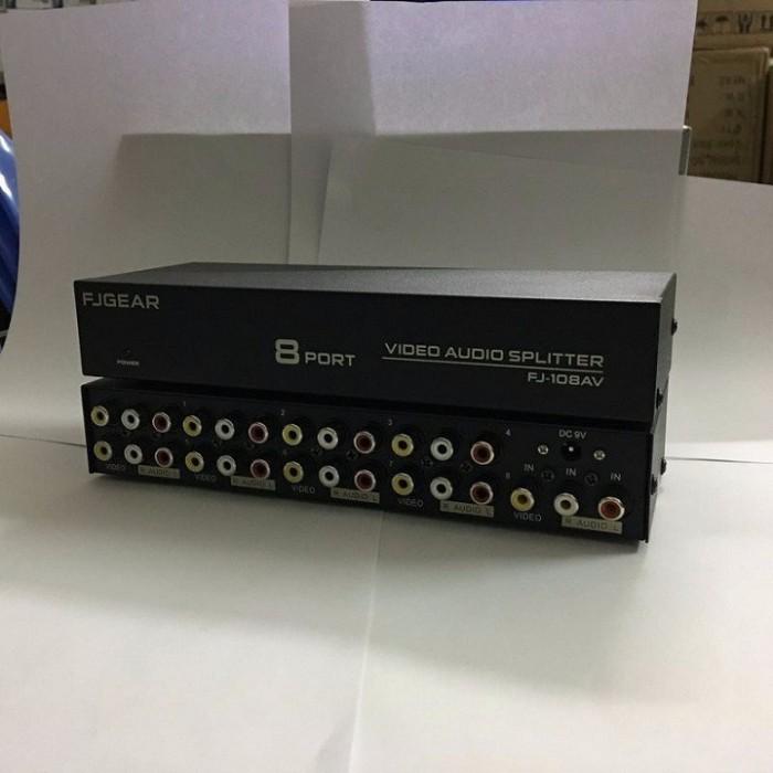 Bộ chia Audio & Video FJGear FJ-108AV   ● Cổng kết nối: 1 AV vào ● Ngõ ra: 8 cổng AV ra được 8 TV cùng một lượt, chất lượng tín hiệu bảo đảm OK1