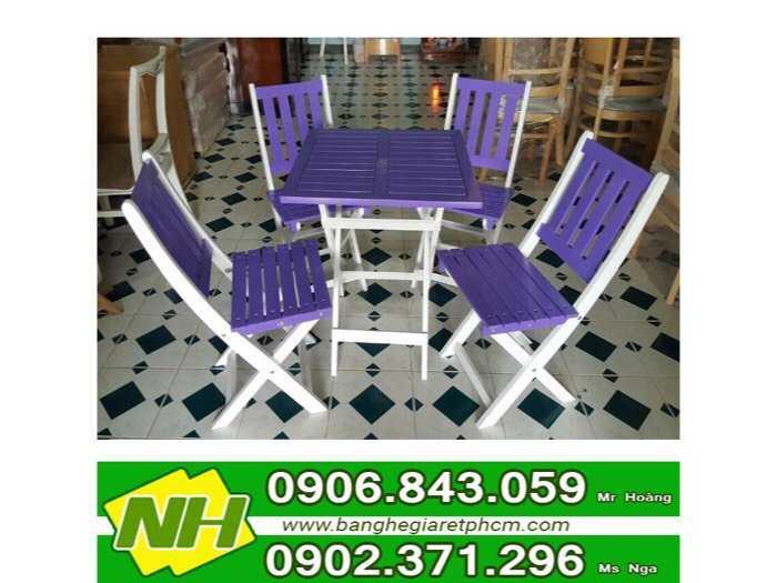 bàn ghế gỗ xếp sơn màu giá rẻ0