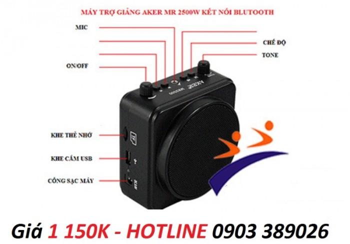 Máy trợ giảng AKER MR-2500W hỗ trợ USB, thẻ nhớ, bluetooth, Echo nên Karaoke được luôn1