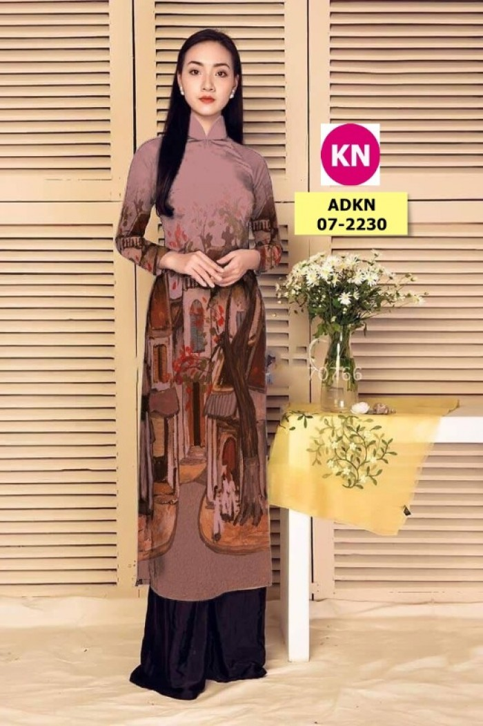 Vải áo dài phong cảnh đẹp 2020 của vải áo dài Kim Ngọc 07-22301