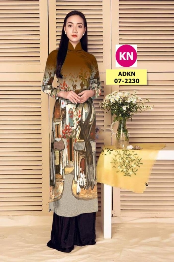 Vải áo dài phong cảnh đẹp 2020 của vải áo dài Kim Ngọc 07-22305
