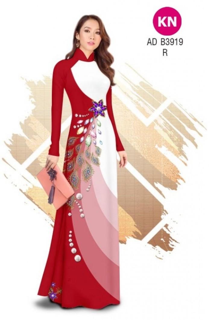Vải áo dài in 3D hoa đính đá đẹp năm 2020 ADKN B39194