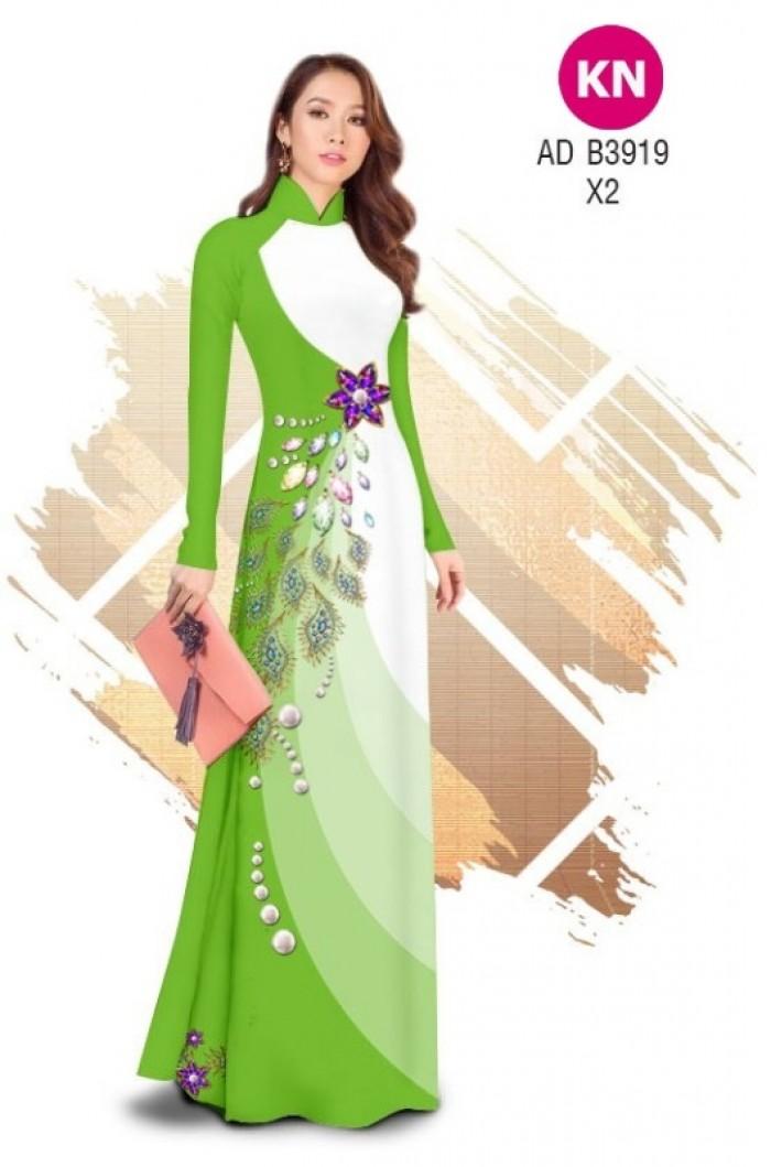 Vải áo dài in 3D hoa đính đá đẹp năm 2020 ADKN B39195