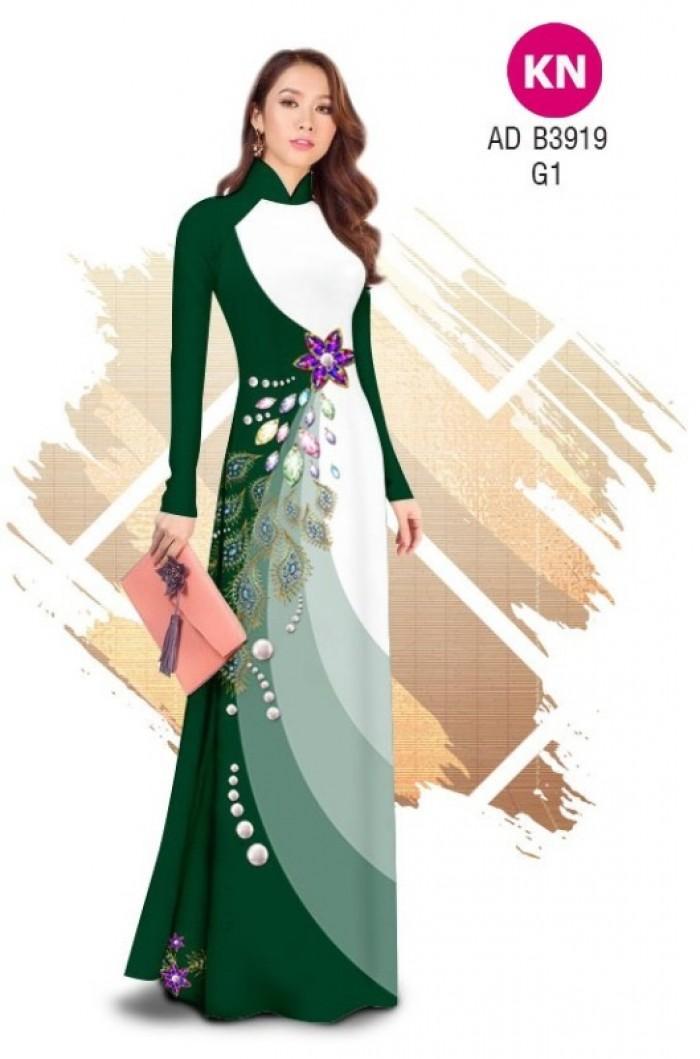 Vải áo dài in 3D hoa đính đá đẹp năm 2020 ADKN B39191
