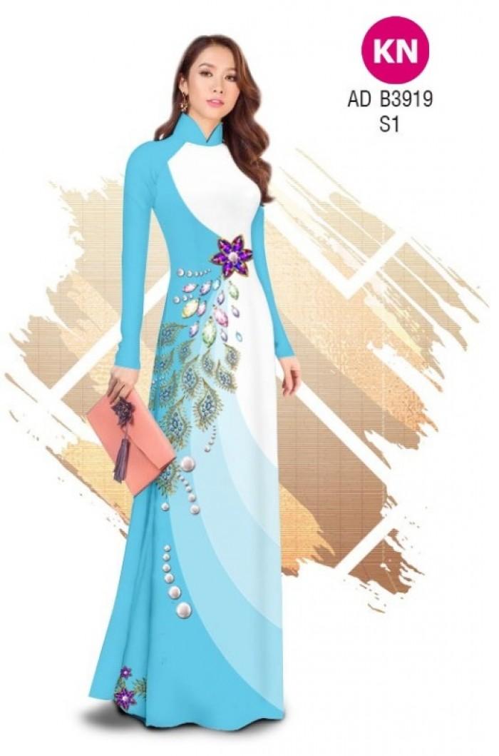 Vải áo dài in 3D hoa đính đá đẹp năm 2020 ADKN B39198