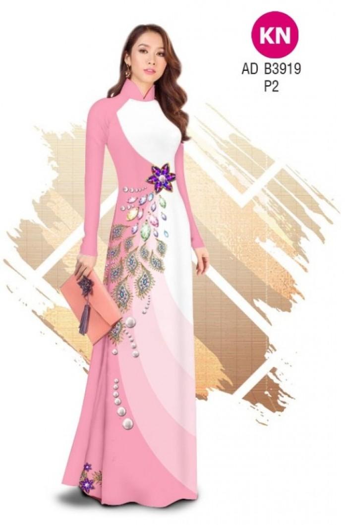 Vải áo dài in 3D hoa đính đá đẹp năm 2020 ADKN B391913