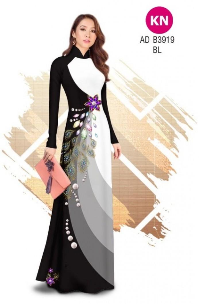 Vải áo dài in 3D hoa đính đá đẹp năm 2020 ADKN B391912