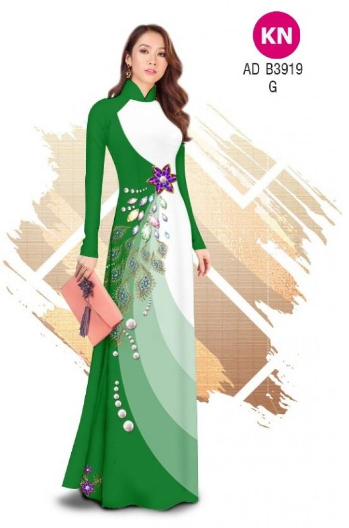 Vải áo dài in 3D hoa đính đá đẹp năm 2020 ADKN B391915