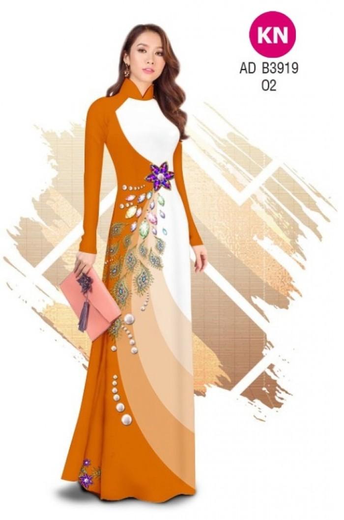 Vải áo dài in 3D hoa đính đá đẹp năm 2020 ADKN B39196