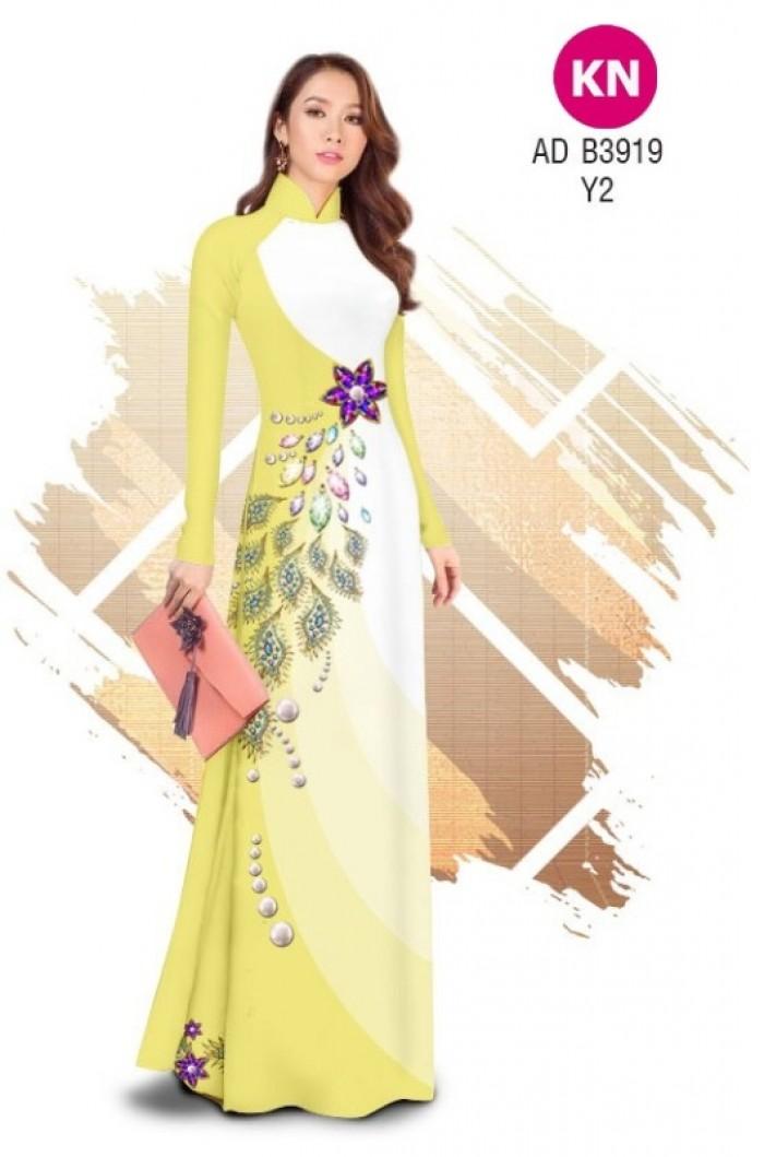 Vải áo dài in 3D hoa đính đá đẹp năm 2020 ADKN B391917