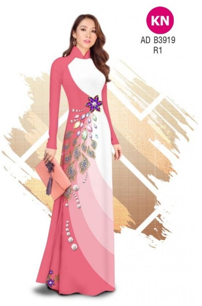 Vải áo dài in 3D hoa đính đá đẹp năm 2020 ADKN B391910