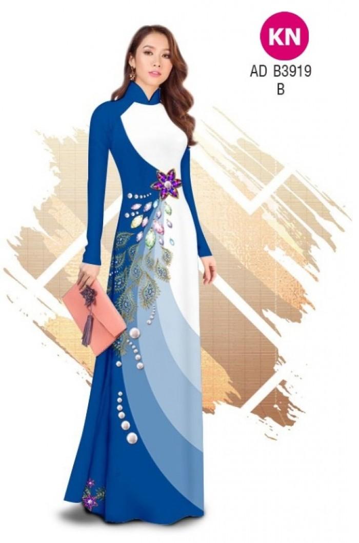 Vải áo dài in 3D hoa đính đá đẹp năm 2020 ADKN B391911
