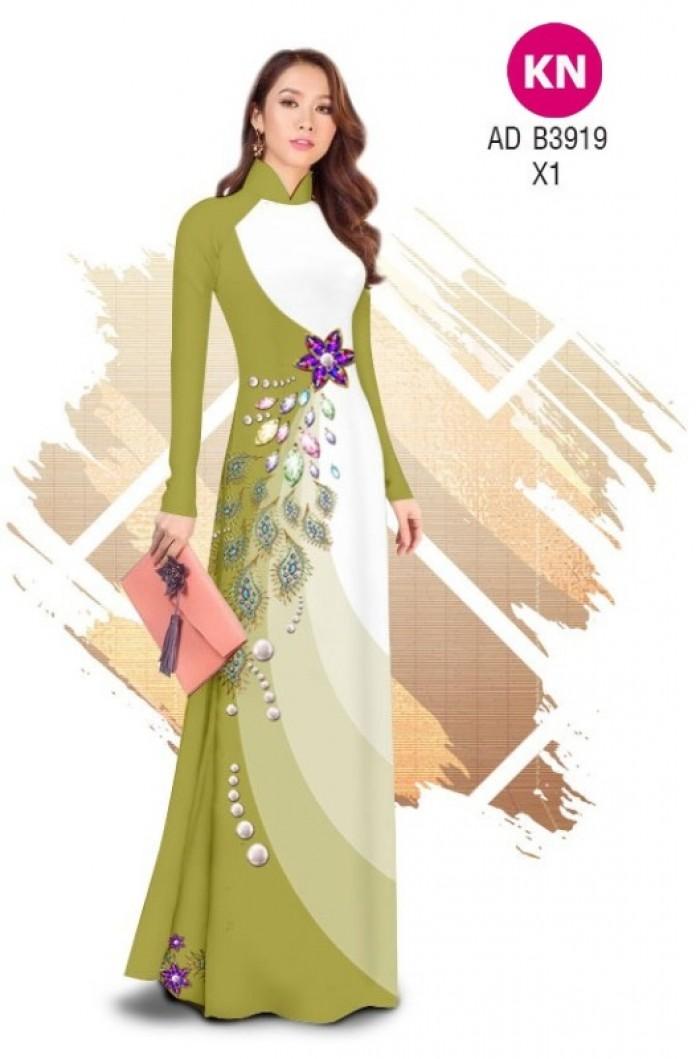 Vải áo dài in 3D hoa đính đá đẹp năm 2020 ADKN B39197