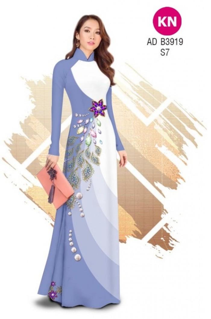 Vải áo dài in 3D hoa đính đá đẹp năm 2020 ADKN B391916
