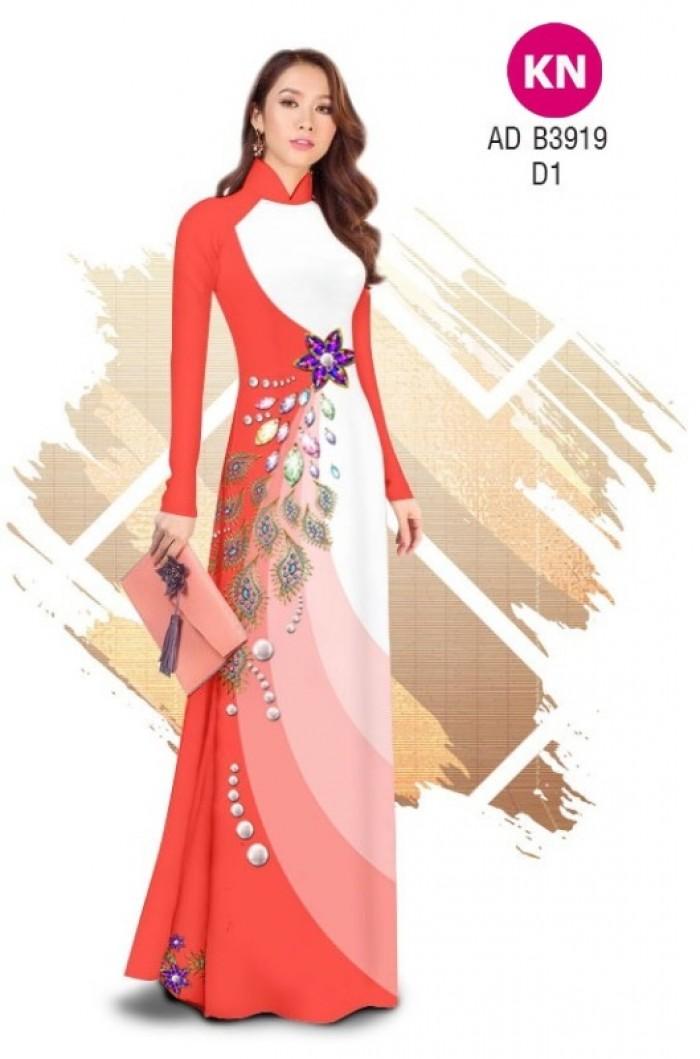 Vải áo dài in 3D hoa đính đá đẹp năm 2020 ADKN B39199
